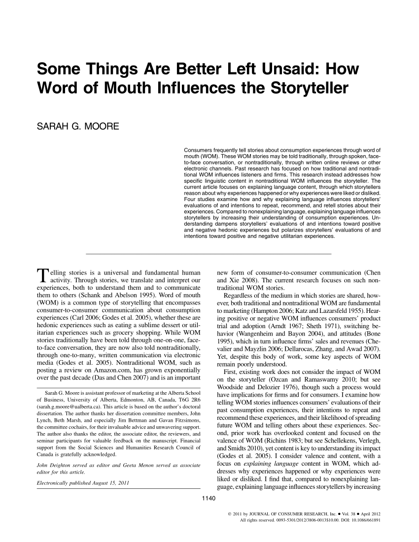 word of mouth advertising a review of the literature